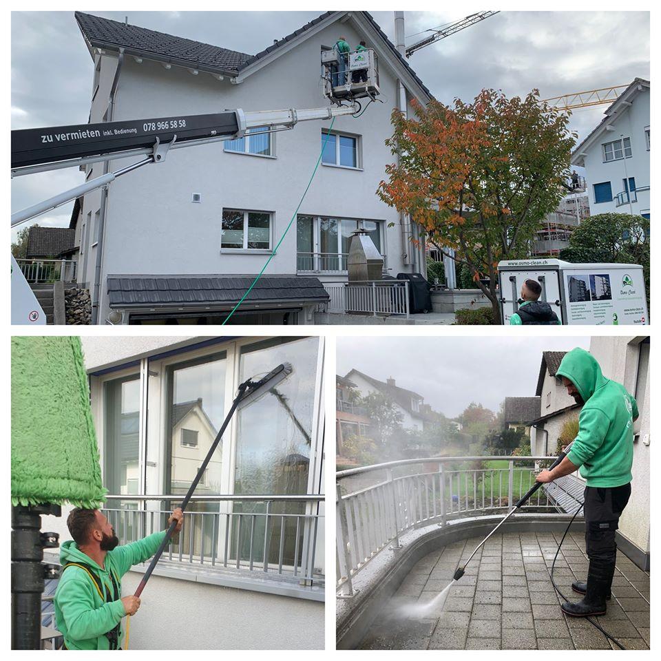 Hausfassade mit Hochdruck reinigen